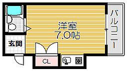 京阪本線 土居駅 徒歩1分の賃貸マンション 2階ワンルームの間取り