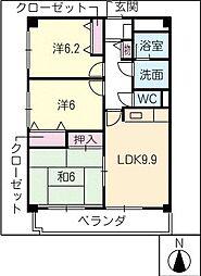 スカイコート黒沢台[2階]の間取り