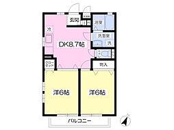 アンビシャス 3階2DKの間取り