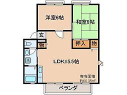 京都府宇治市広野町大開の賃貸アパートの間取り