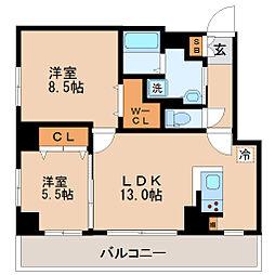 カスタリア榴ヶ岡[9階]の間取り