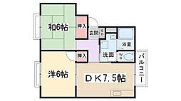 兵庫県伊丹市野間6丁目の賃貸アパートの間取り