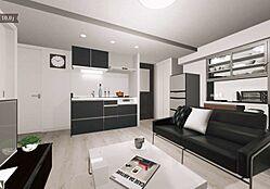 シンプルモダンな雰囲気のLDは、上質なプライベートタイムを過ごすことが出来るお部屋です