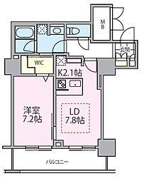 東京メトロ日比谷線 南千住駅 徒歩5分の賃貸マンション 23階1DKの間取り