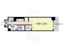 阪急千里線 南千里駅 徒歩14分の賃貸マンション 3階1Kの間取り