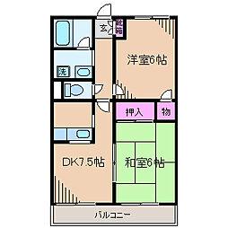 神奈川県川崎市中原区木月祗園町の賃貸アパートの間取り
