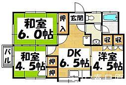 福岡県春日市上白水7丁目の賃貸アパートの間取り