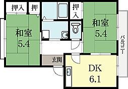 京都府久世郡久御山町佐山双置の賃貸アパートの間取り