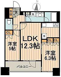 パークアクシス御茶ノ水ステージ 2階2LDKの間取り