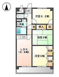 愛知県北名古屋市高田寺屋敷の賃貸マンションの間取り