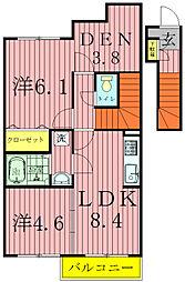 アジュールA・B[2階]の間取り