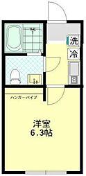 神奈川県横浜市磯子区磯子3丁目の賃貸アパートの間取り