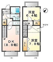 愛知県清須市春日桑の賃貸アパートの間取り