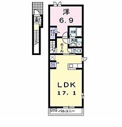 藪塚町アパート(023001701)[201号室]の間取り