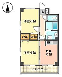 愛知県名古屋市名東区梅森坂1丁目の賃貸マンションの間取り