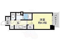 プレサンスOSAKA DOMECITYスクエア 3階1Kの間取り