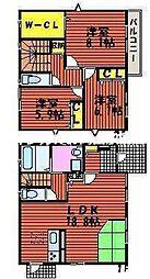 [一戸建] 岡山県岡山市北区東島田町2丁目 の賃貸【/】の間取り