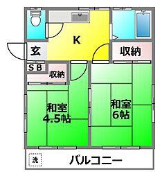 竹田ハウスB[201号室]の間取り