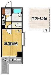 ロイヤルシャトー黒崎 2階1Kの間取り