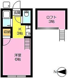 コーポ中村2[2階]の間取り