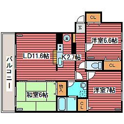 サンライト西岡2[4階]の間取り