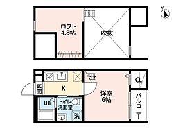 愛知県名古屋市中川区笈瀬町2丁目の賃貸アパートの間取り