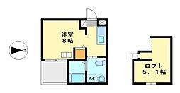 愛知県名古屋市中村区東宿町3丁目の賃貸アパートの間取り