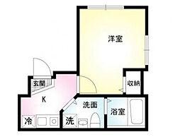 神奈川県横浜市磯子区原町の賃貸アパートの間取り