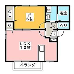 ウィルモア鶴B[2階]の間取り