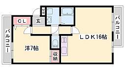 ボヌール五軒邸 4階1LDKの間取り