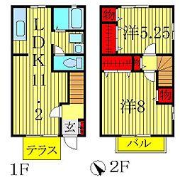 [テラスハウス] 千葉県柏市大津ケ丘3丁目 の賃貸【/】の間取り
