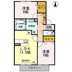 大阪府大阪市平野区喜連東3丁目の賃貸アパートの間取り