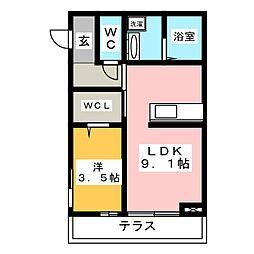 エスペランサ21 1階1LDKの間取り