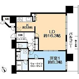 ヴィークタワーOSAKA 20階1LDKの間取り