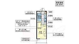 大阪モノレール彩都線 豊川駅 徒歩5分の賃貸マンション 1階1Kの間取り