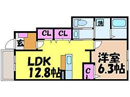 愛媛県松山市吉藤4丁目の賃貸アパートの間取り