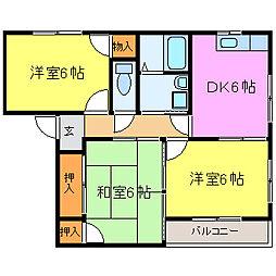 パストラル田寺東[A102号室]の間取り