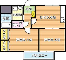 ベルカーサ日吉台[2階]の間取り