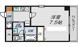 ルミエール新大阪 10階1Kの間取り