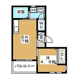 JR山手線 五反田駅 徒歩8分の賃貸マンション 4階1DKの間取り