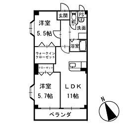 アメニティ鴨田南 2階[202号室]の間取り