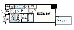 プレサンス心斎橋クオーレ 15階1Kの間取り