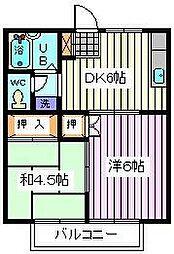 埼玉県さいたま市桜区桜田2丁目の賃貸アパートの間取り