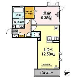 (仮)D-room北岡崎 3階1LDKの間取り