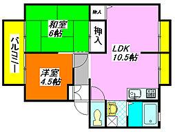 サンビレッジ・なかもりB棟 102号室[1階]の間取り