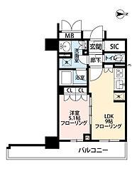 ブランズタワー御堂筋本町[5階]の間取り