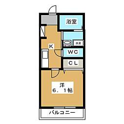 Art Hills Shinyurigaoka 2階1Kの間取り