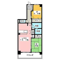 バンベール芝田II[3階]の間取り