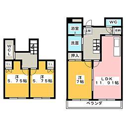 浦口ハウス[4階]の間取り