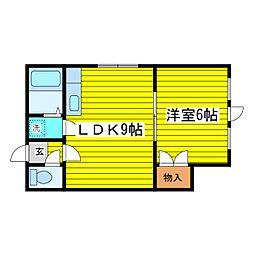 北海道札幌市東区北三十二条東16丁目の賃貸アパートの間取り